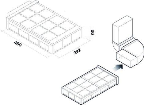 FALMEC KACL945 Carbon.Zeo szűrő szett konyhabútor lábazatába, kompakt méret